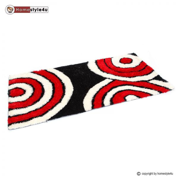 Shaggy rugs 80 x 150 black white red carpet