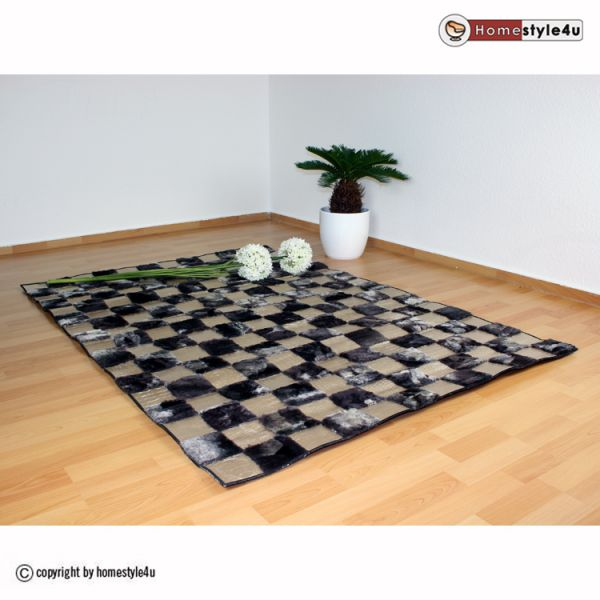 Patchwork rug 80 x 150 cm leather square