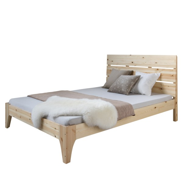 Double bed wooden bed bed futon bed 140x200 light pine bed