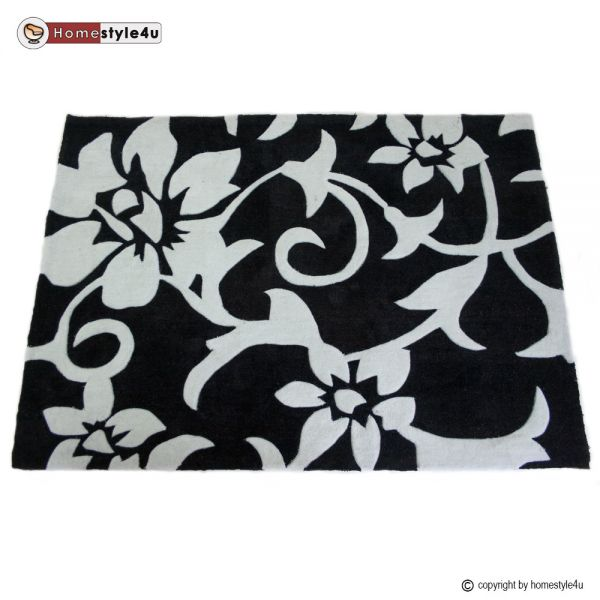 Shaggy rugs 80 x 150 black white Flower carpet