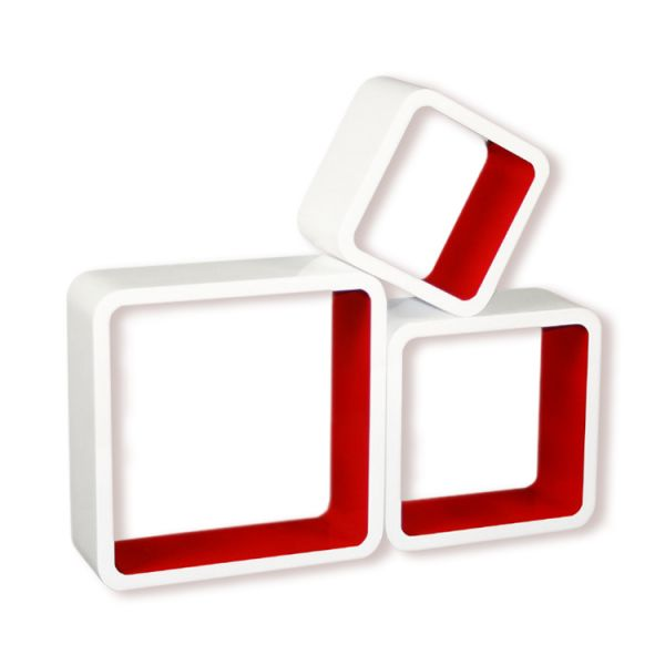 Retro Cube wall shelf CD rack Set of 3 Red