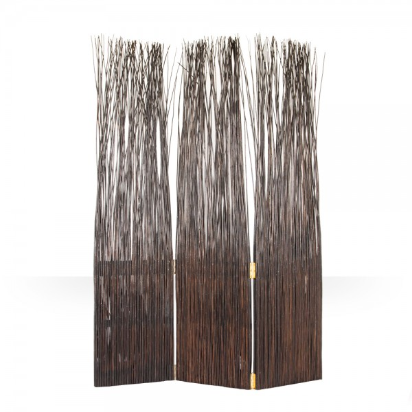 3 part willow paravent in dark brown