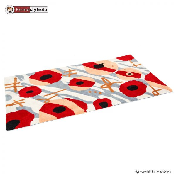 Shaggy rugs 80 x 150 red grey Flower carpet