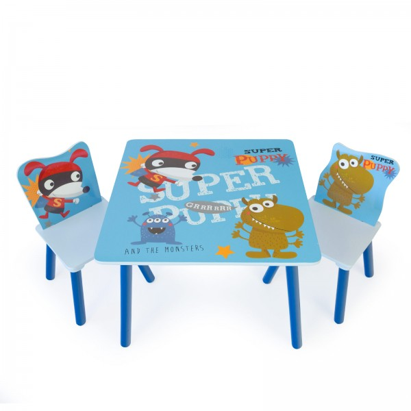 Childrens Kids 1 table and 2 chairs Stools Furniture Set New Puppy blue
