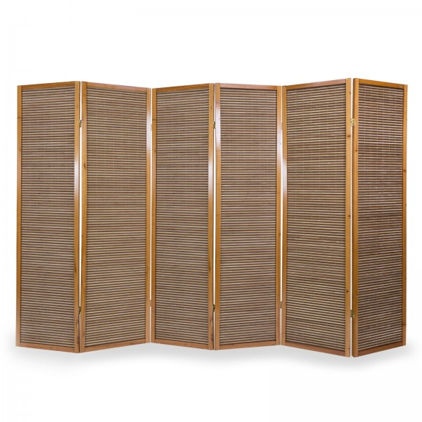 6 part wood paravent 8002 brown bamboo