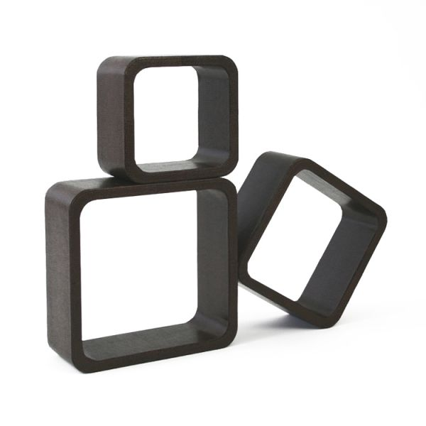 Cubes Shelves Leatherette Set of 3 brown