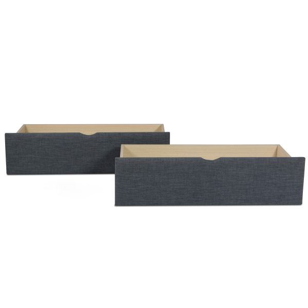Bed Drawer Set of 2 Drawers Pull-Out Bed Box Storage with Castors Grey