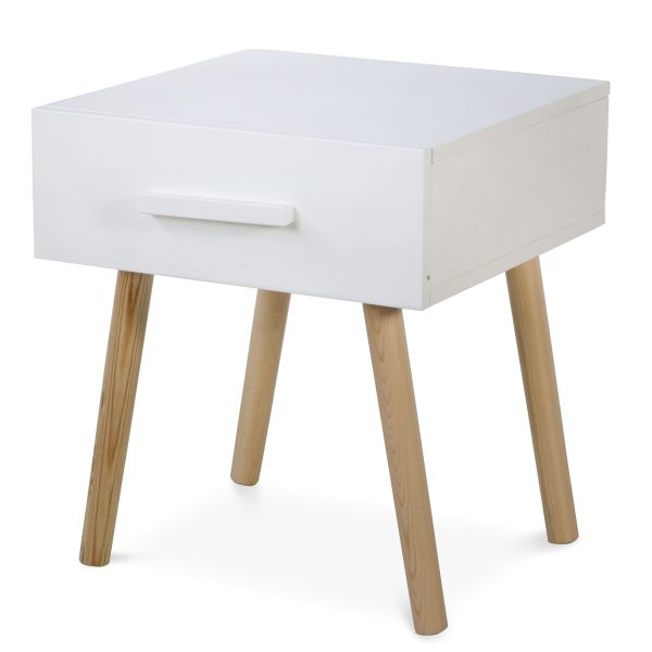 Bedside Table Nightstand White Bedroom Night Table Cupboard Pine Wood Drawer