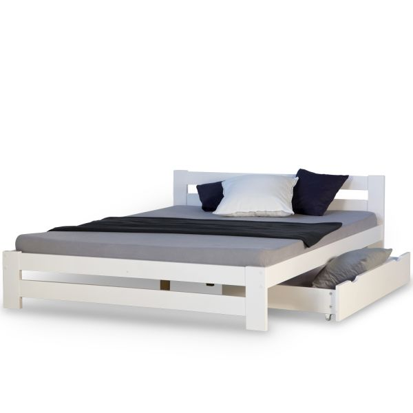 Double Bed 140x200 White Bed Drawer Daybed Wooden Bed Frame Pine