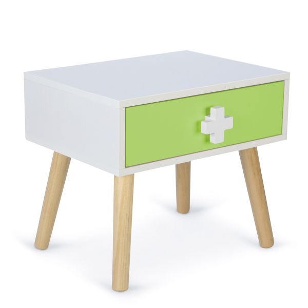 Bedside Table for Children Night Cabinet Night Chest Drawer White Green