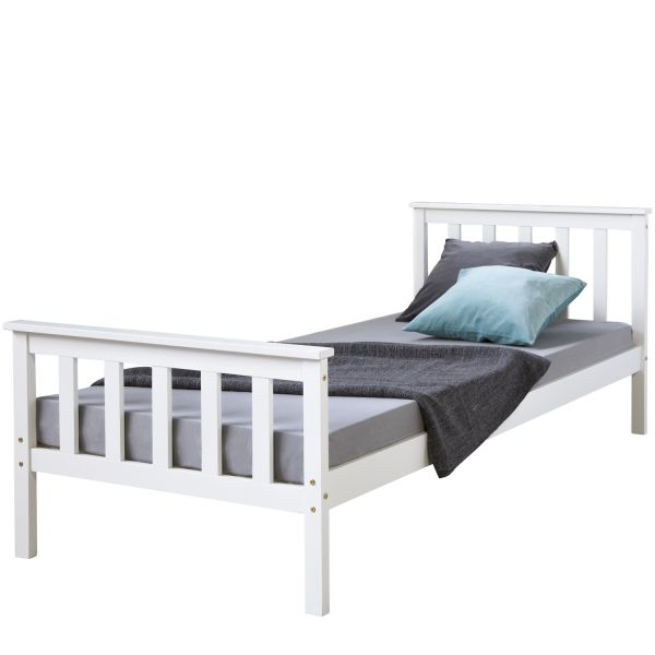 3FT single bed Solid pine wooden frame bed Shaker Style Daybed white guestbed