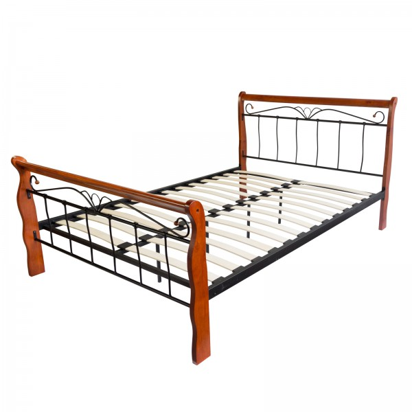 Design Iron Bed Double 160 x 200Wood Slatted black brown bed frame 1008