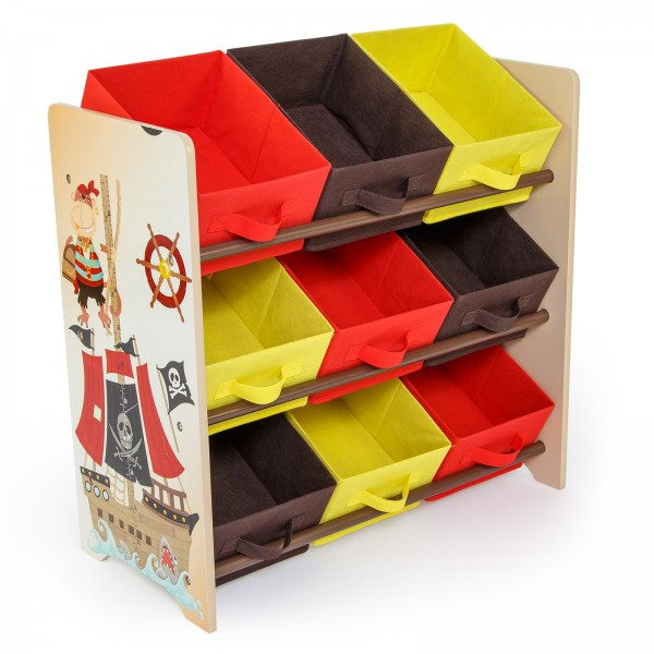 Children's furniture Wooden Shelf Storage box with 9 shelves, Pirate
